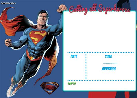 superman superpowers card template free printable justice league invitation template free