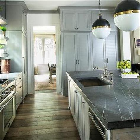 Dunmore Kitchen by Taupe Kitchen Island With Brass Counter Stools