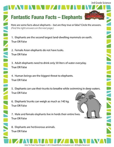 3rd Grade Science Worksheets by Fantastic Fauna Facts Elephants View 3rd Grade Science