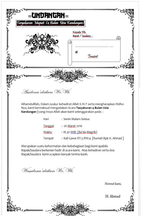 template undangan pernikahan ms word download template undangan tasyakuran bisa di edit sendiri