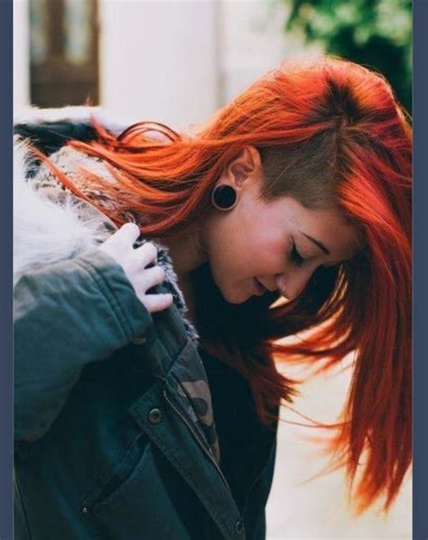pictures of hair with shaved from ear down and in back red side shave hair beauty life pinterest side