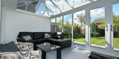 Large Glass Fronted Conservatory With French Doors from