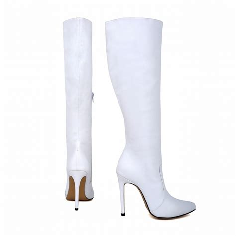 wide calf thigh high heel boots womens leather pointed toe high heels autumn winter mid