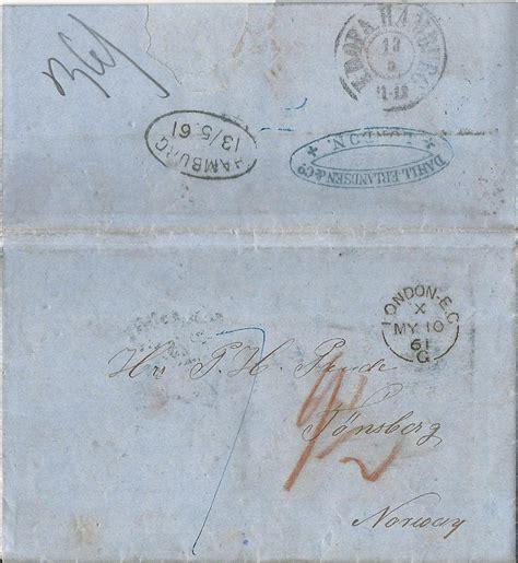 Porto Brief Schweiz Nach österreich Gb 1861 Porto Brief V Via Kdopa Hamburg Nach Norwegen 183 Heiner Zinoni