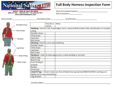 Safety Harness Lanyard Checklist Sheet Get Free Image About Wiring Diagram Safety Shoe Program Template