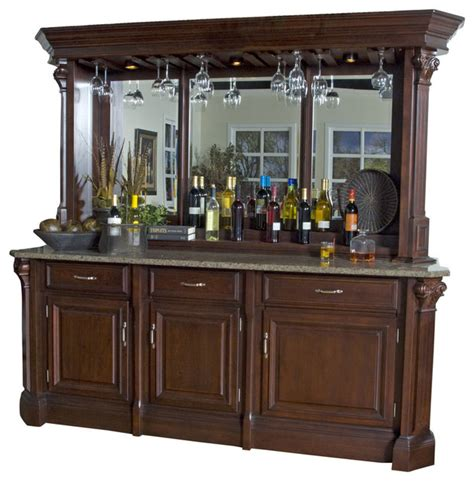 Wine Cabinet Bar Furniture by American Heritage Back Bar With Hutch In Mojave