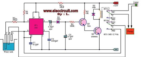 water tank level controller circuit diagram automatic water level controller circuit project