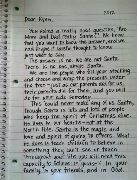 Parent Letter To Kid At C Quot Are And Really Santa Quot Letter Of Explanation From A Parent To A Child Well Written