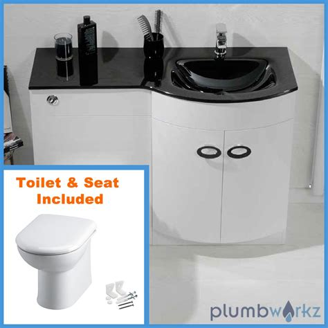 Bathroom Sink And Toilet Vanity Unit D Shape Bathroom Vanity Unit Basin Sink Bathroom Wc Unit Btw Toilet Black Glass Ebay