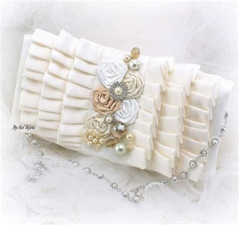 Another Etsy Find The Satin Rolled Clutch by Purse Handbag Bag Clutch Ivory White