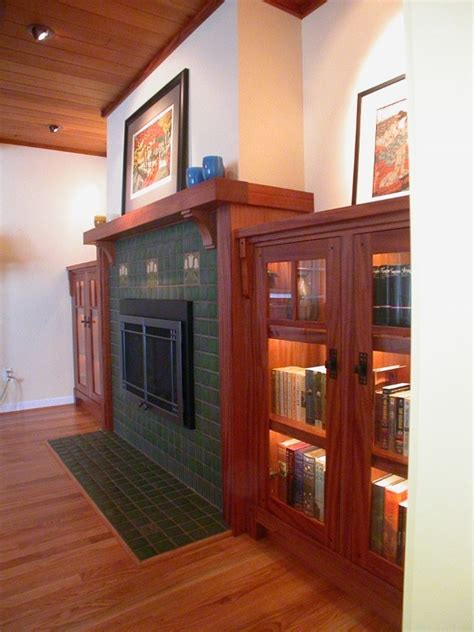 craftsman fireplace mantel Living Room Traditional with