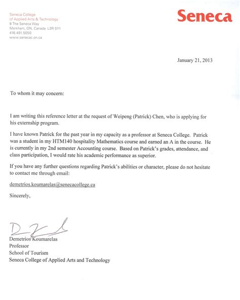 Seneca College Letter Of Acceptance Reference Weipeng Chen