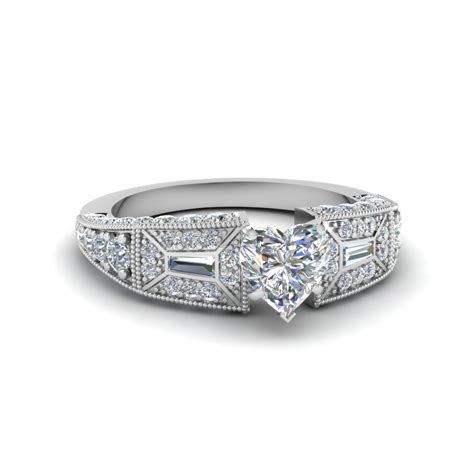 shaped pave antique style engagement ring in