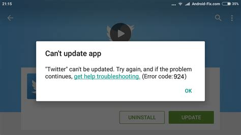 Can T Update Play Store Error Code 924 Quot Can T App Quot In Play Store