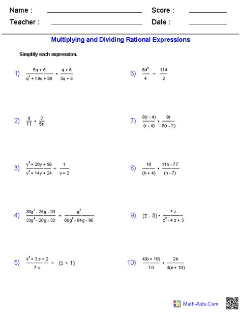 Solving Rational Equations Worksheet Algebra 2 Answers by Multiplying And Dividing Rational Expressions Worksheet