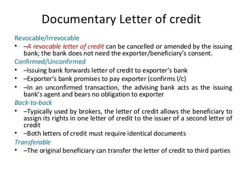 Beneficiary Letter Of Credit Types Of Letter Of Credits On 11 09 2012