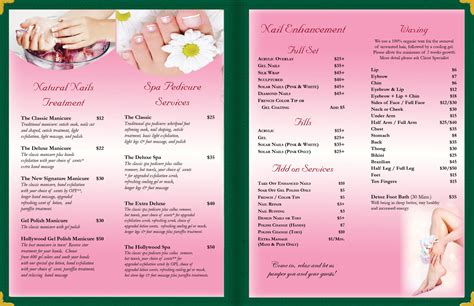 Beautiful Photos Of Nail Salon Business Cards Business Cards And Resume Pedicure Menu Template