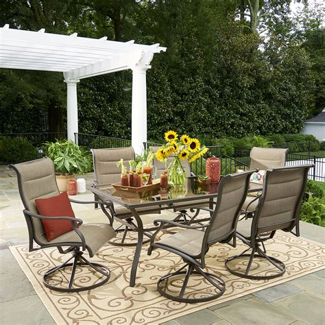 Grand Resort 7 Piece Oakdale Padded Sling Dining Set