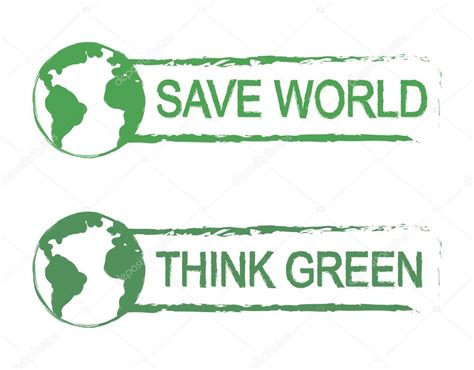 Think Green 2 Oceanseven save world think green vector de stock 169 bsd 75624709