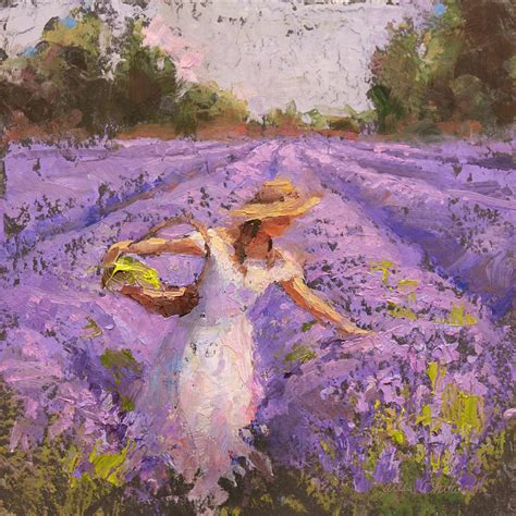 lavendar paint woman picking lavender in a field in a white dress lady