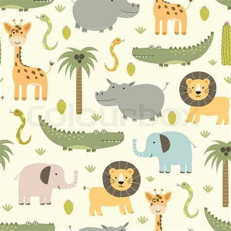 cartoon forest animals giraffe pattern baby girl clothes a safari animals seamless pattern with cute hippo crocodile