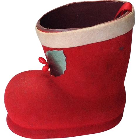 L 842 Transparent Top Bottom Costume vintage cardboard flocked santa boot from