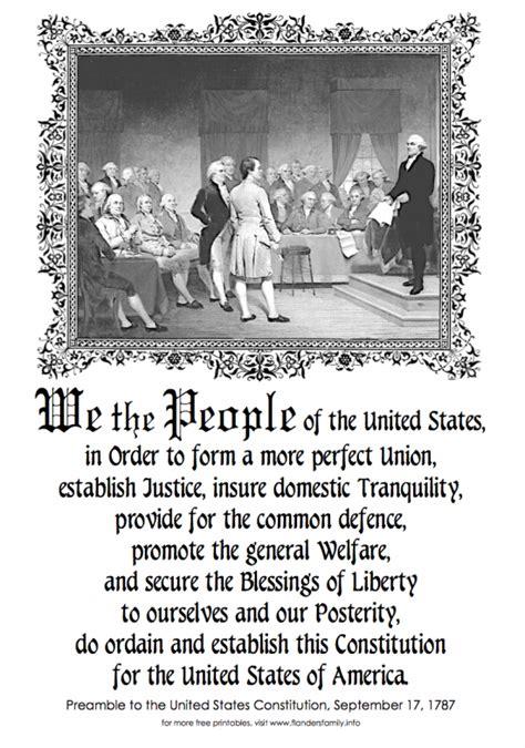 free printable us constitution preamble to the constitution of the united states of