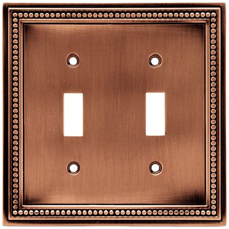 liberty beaded 2 toggle switch wall plate aged brushed