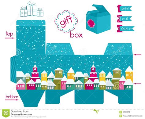 Gingerbread Home Decor by Printable Gift Box With Colorful Snowcovered Town Stock