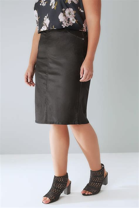 Can You Shop Online With A Visa Gift Card - black coated pencil skirt with elasticated waist plus size 16 to 32