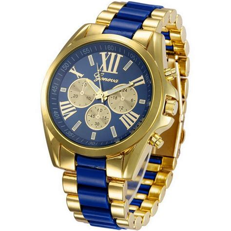 Jam Tangan Pria Geneva Fashion Quartz Analog Stainless Steel geneva jam tangan analog pl 201 golden blue
