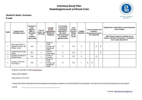 individual study plan international student support