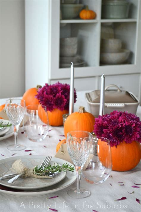 Pretty Table Decorations Simple Ideas For A Thanksgiving Table Setting A Pretty In The Suburbs