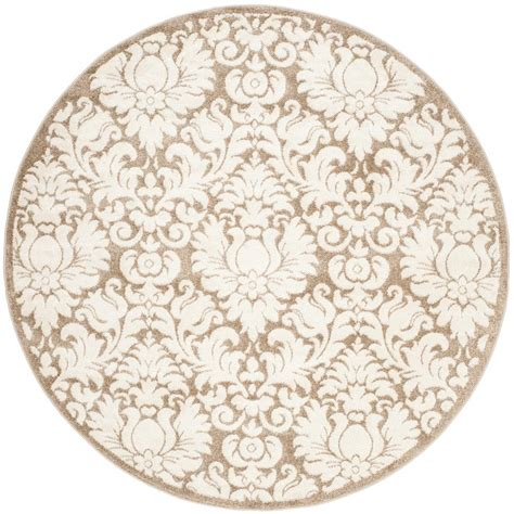 Safavieh Florida Shag Cream Beige 9 Ft X 9 Ft Round Area 9 Foot Rugs