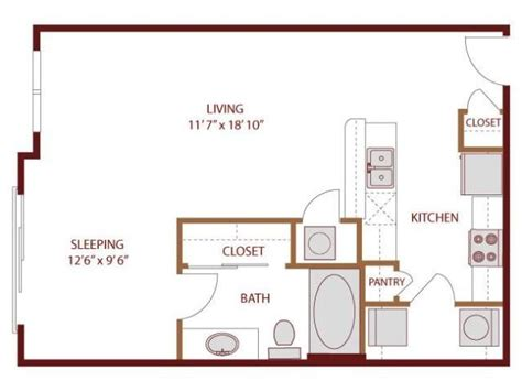 studio apartment kitchen layout 569 sq ft studio apartment layout i like the galley
