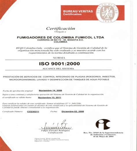 Fumicol Ltda Manejo Integrado De Plagas Bureau De Controle Veritas