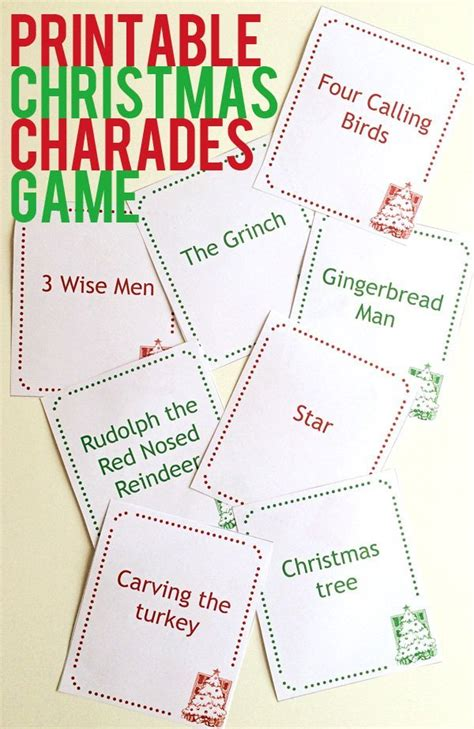 printable charades cards download a free printable christmas charades game party