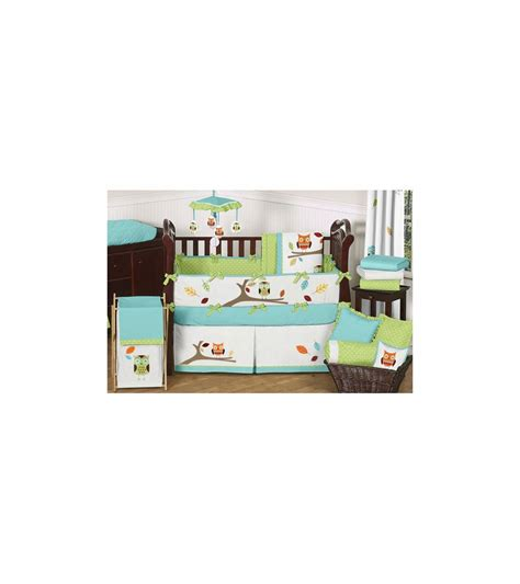 Sweet Jojo Designs Crib Bedding Set Sweet Jojo Designs Hooty Turquoise Lime 9 Crib Bedding Set