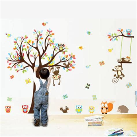 big jungle animals tree vinyl wall stickers bedroom wallpaper decals animal baby