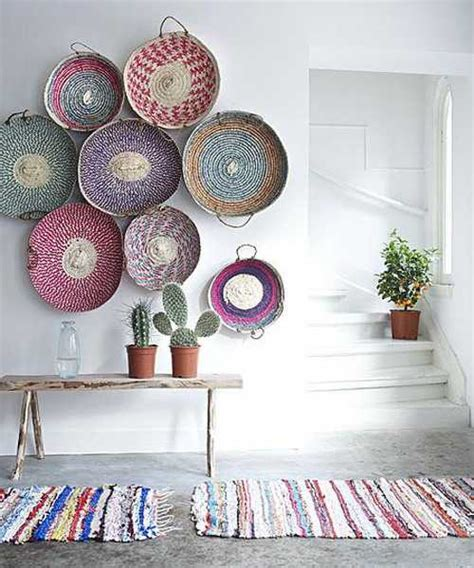 basket wall decor modern wall decoration with ethnic wicker plates bowls