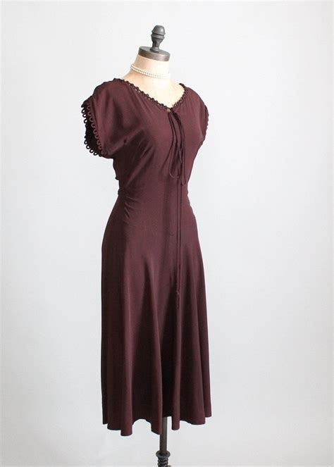 1940s swing dress vintage 1940s cocoa crepe swing dress raleigh vintage