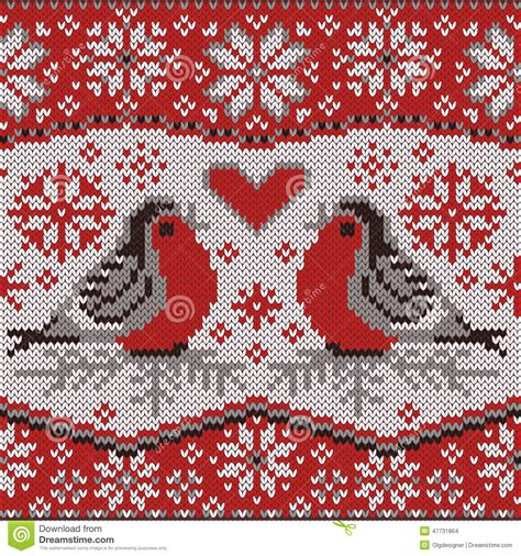 Greeting Card With Bullfinches Nordic Knitted Pattern