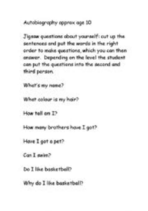 biography interview questions worksheet english worksheets autobiography questions