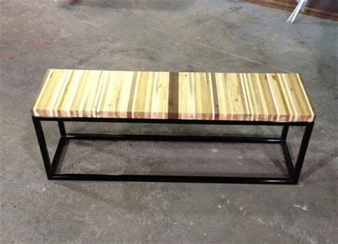 steel wood bench diy pallet wood and steel bench 101 pallets