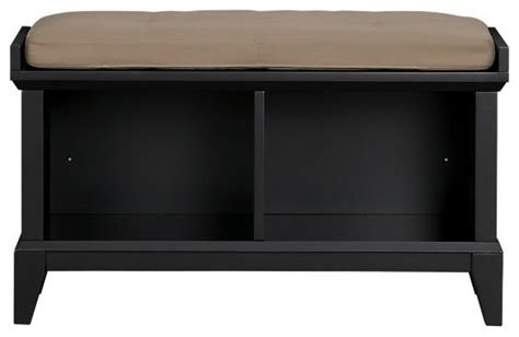 Black Storage Bench With Cushion paterson black storage bench with wheat cushion modern