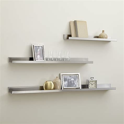 silver bookshelves davis brushed silver wall shelves crate and barrel