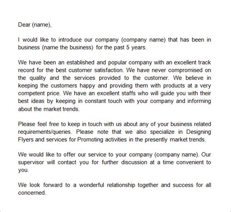 Business Relationship Letter The business introduction letter template pinteres