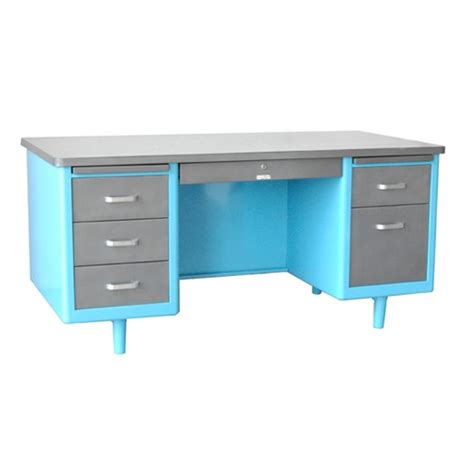 Blue Desk by Twenty Tanker Desk 60 Quot Shown With Top And Drawers