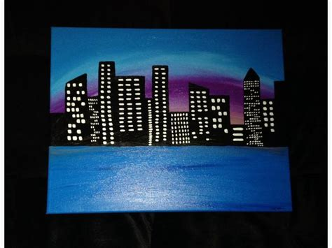 glow in the paint winnipeg city lights original acrylic painting that lights up at