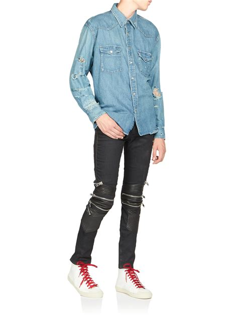 Blue Denim Dress Sml S905 laurent distressed denim shirt in blue for lyst